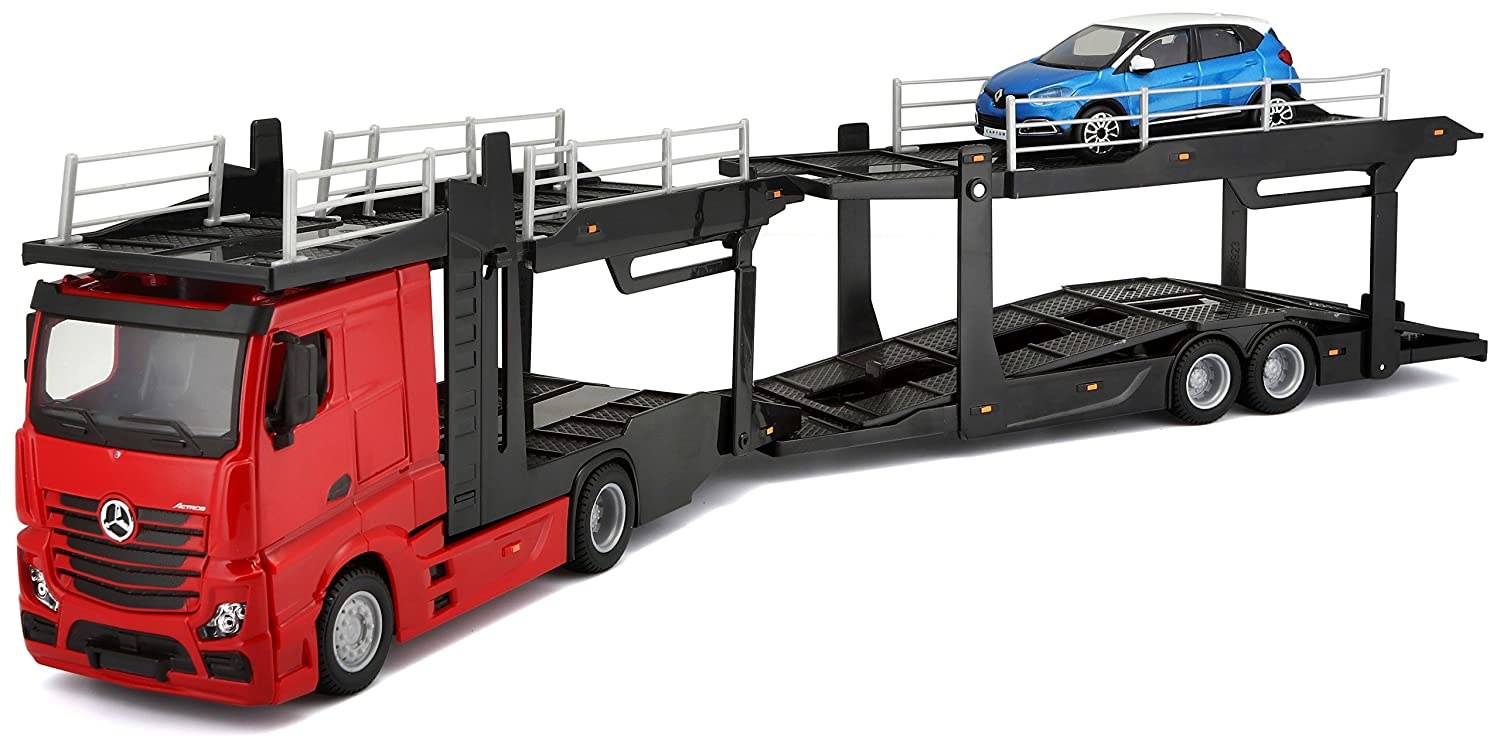Bburago B18-31456 1:43 Scale Model of a Mercedes-Benz Actros multicarrier  with an Additional car on The Back
