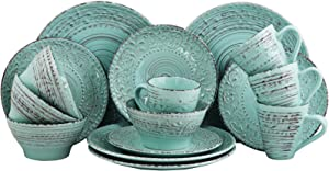 Elama ELM AD Malibu Waves 16-Piece Dinnerware Set in Turquoise, 16pc