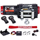 OPENROAD 3000lbs ATV/UTV Winch with 39ft Steel Cable,12V Electric Winch with Wireless Remote Control and Removeable Control B