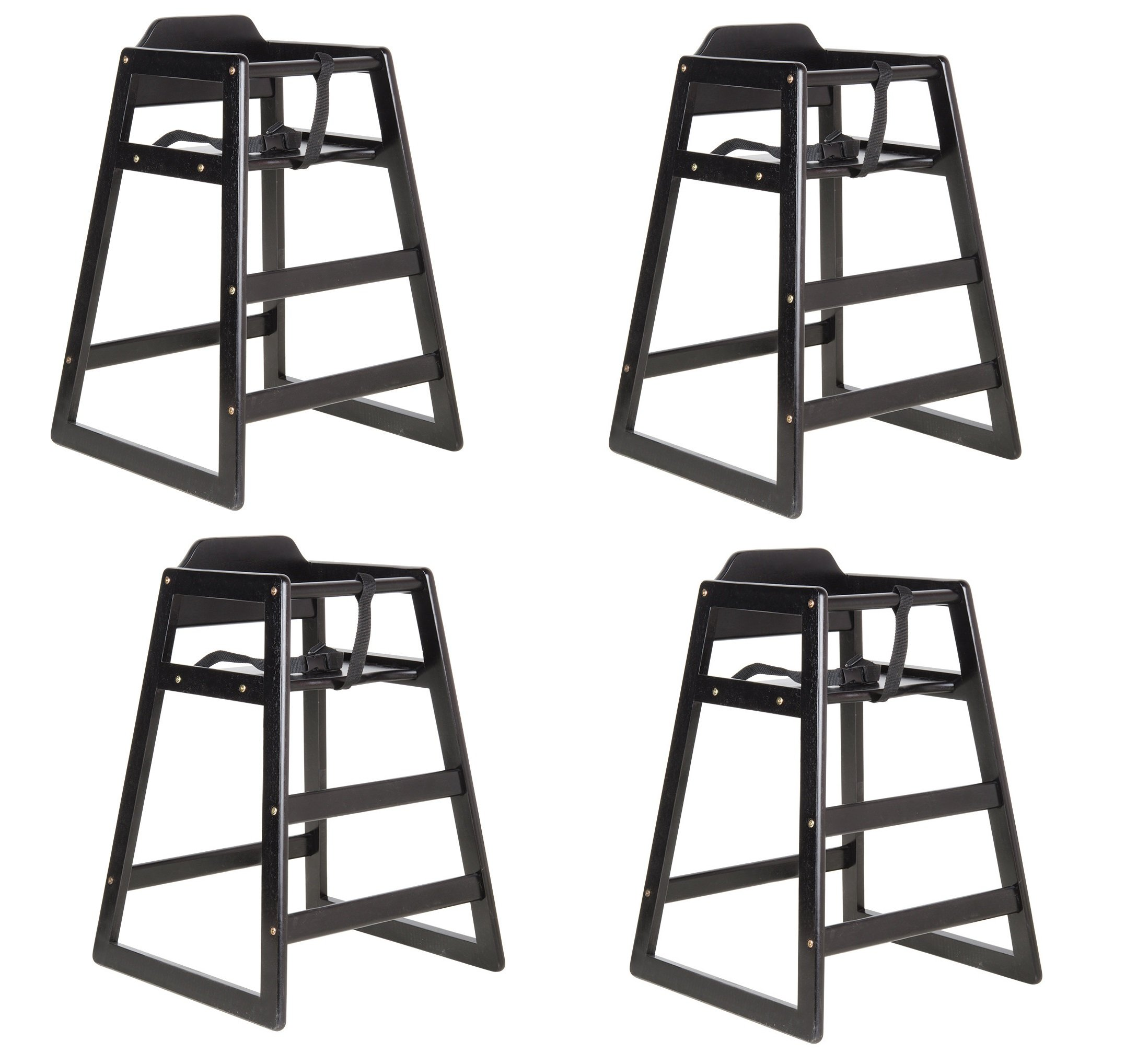 Lancaster Black Finish Stacking Restaurant Wood High Chair 4 PACK solid wood stacking stackable