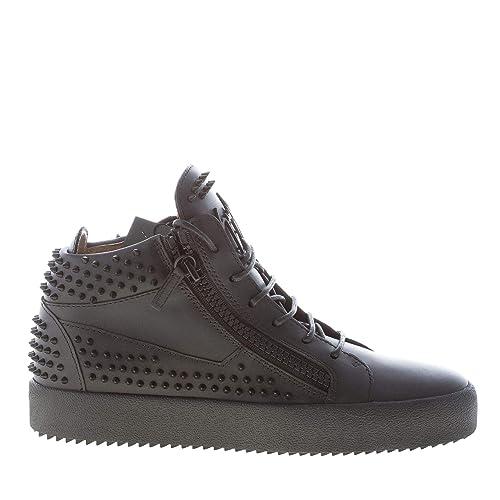 Giuseppe ZANOTTI Uomo Sneaker Alta in Pelle Nero con Zip e Borchie   Amazon.it  Scarpe e borse e463161449f