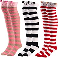 Jetec 3 Pairs High Stockings 3D Animal Winter Warm Crew Fuzzy Socks for Women Girls Favors