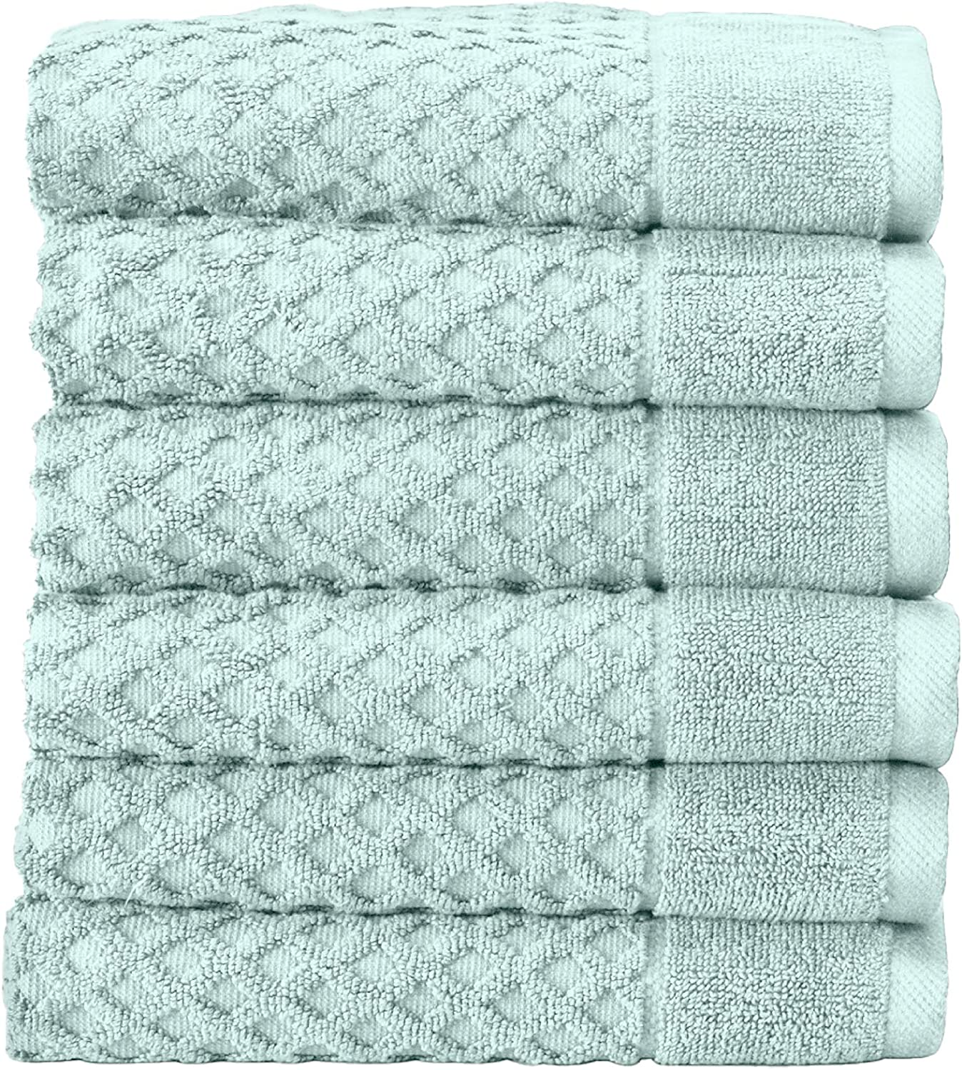 Great Bay Home 100% Cotton Hand Towel Set (16 x 28 inches) Highly Absorbent, Textured Luxury Hand Towels. Grayson Collection (Set of 6, Pastel Blue)