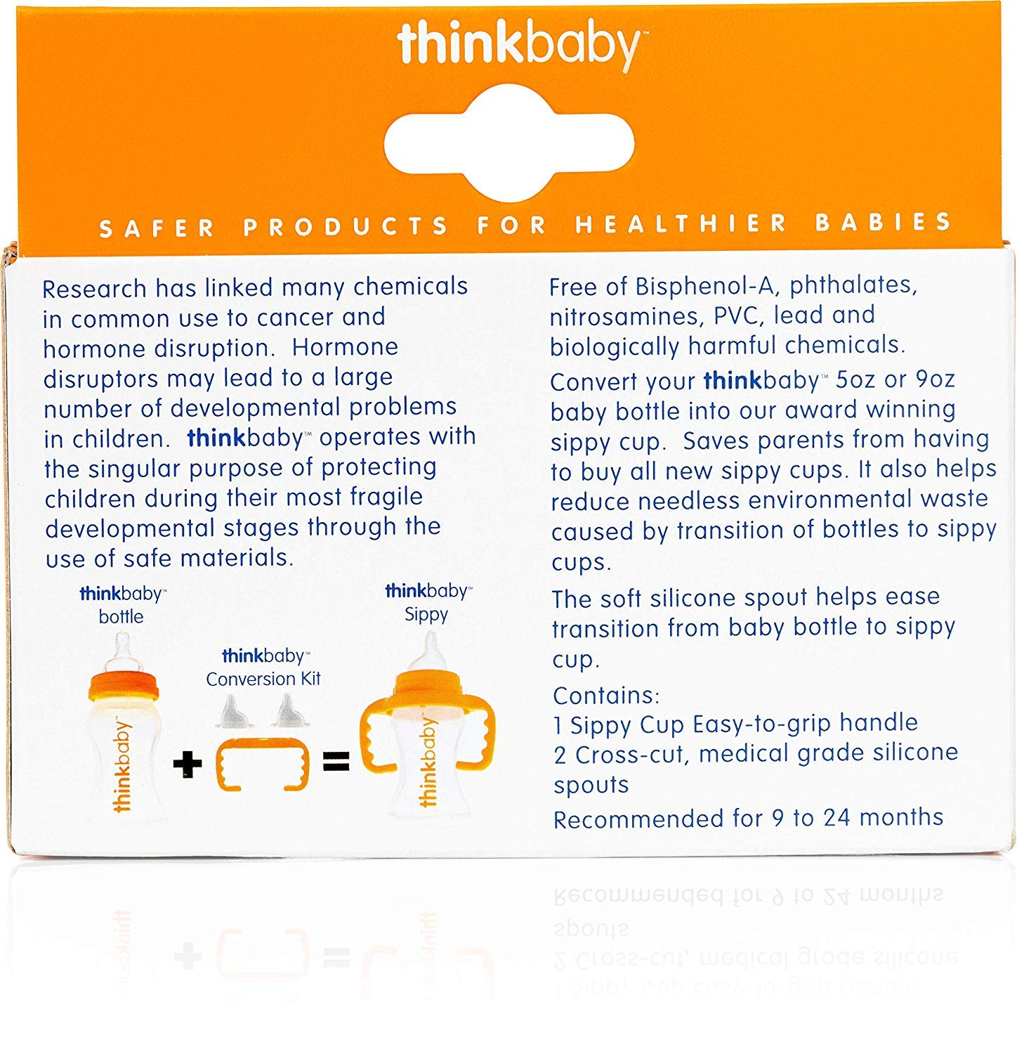Baby Bottle to Sippy Cup Conversion//Replacement Kit 2 piece Think Baby