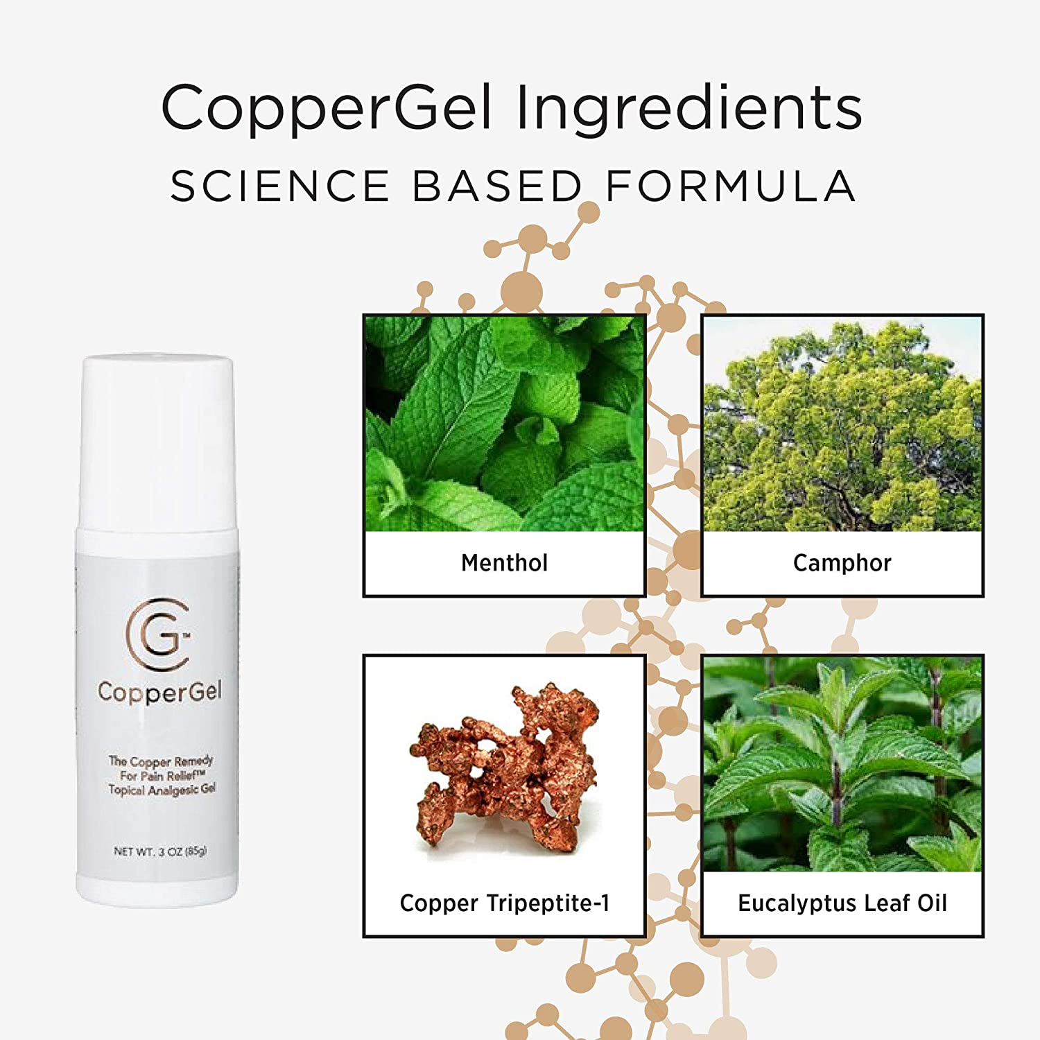 CopperGel Pain Relief Cooling Gel Topical Roll-On Copper Infused Clinically  Proven for Arthritis, Joint