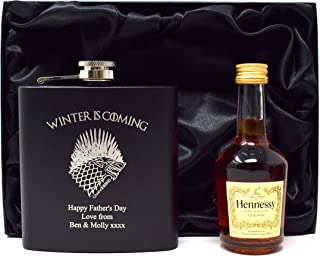 Engraved/Personalised *Game of Thrones Winter is Coming Design* Black Hip Flask & Miniature Bottle of Alcohol in Silk Gift Box (Balvenie Whisky)