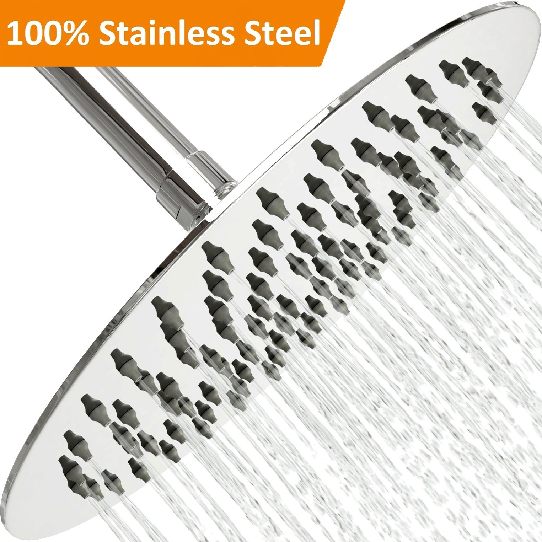 Rain Shower Head Stainless Steel – [NEW 2019] High Pressure 8 In Rainfall Bathroom Powerful Spray Shower Heads – Best High Flow Fixed Luxury Chrome SPA Showerhead with Adjustable Metal Swivel Ball