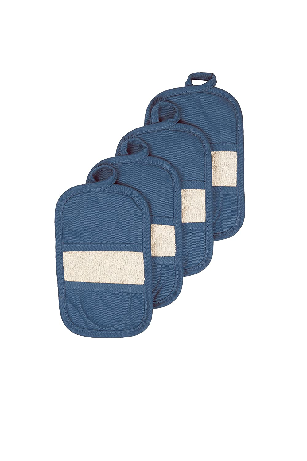 Ritz Royale Collection 100% Cotton Terry Cloth Mitz, Dual-Function Pot Holder/Oven Mitt Set, 4-Pack, Federal Blue