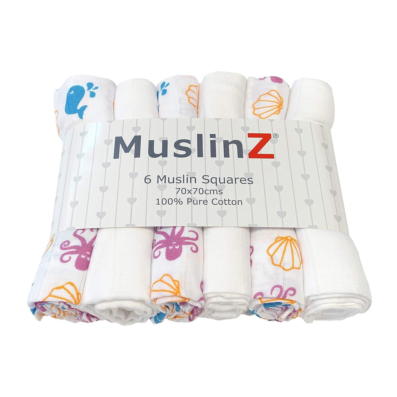 100 /% Baumwolle 70 x 70 cm MuslinZ Baby-Spucktuch quadratisch 6 St/ück