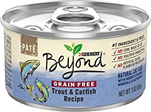 Purina Beyond Grain Free, Natural Pate Wet Cat Food, Grain Free Trout & Catfish Recipe - (12) 3 oz. Cans