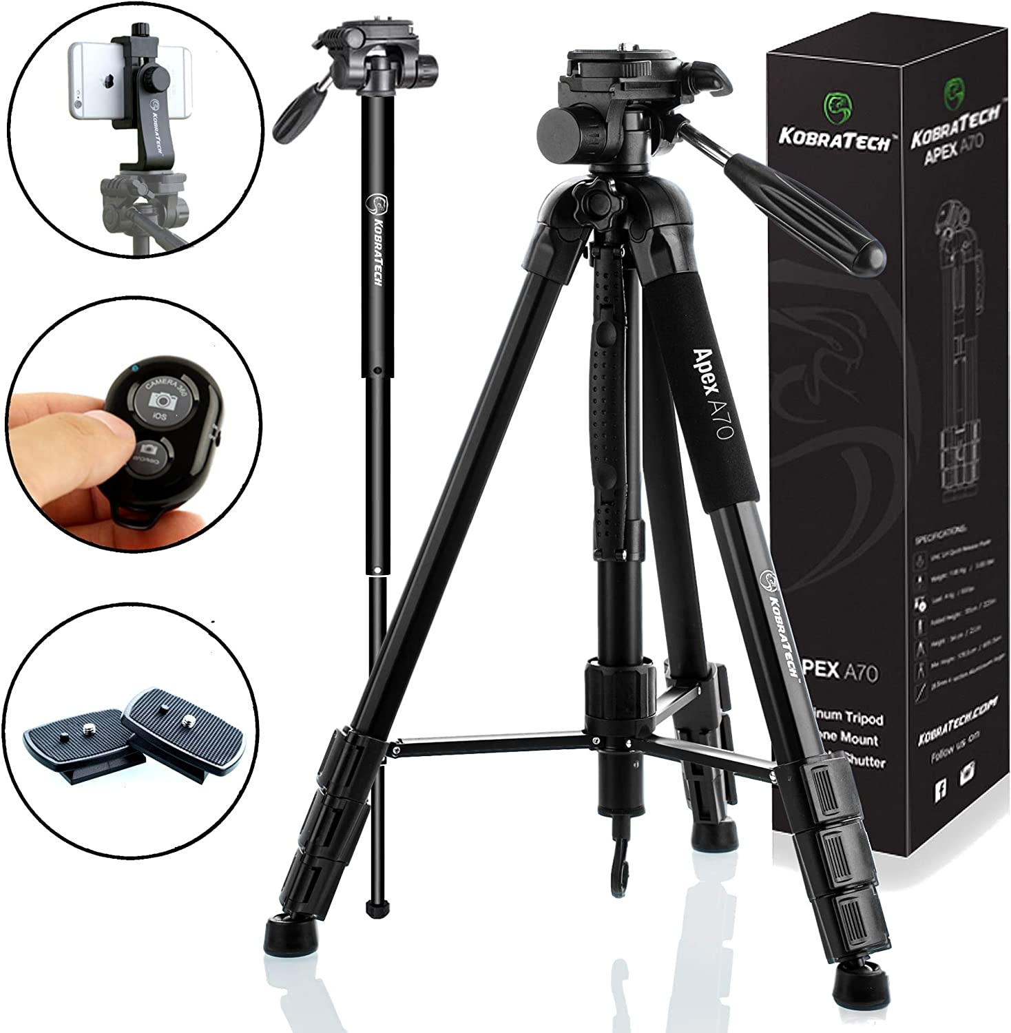 KobraTech 70 Inch Tripod for Camera and Phone - Apex A70 – Camera Tripod Stand with Bluetooth Remote Shutter, Phone Tripod Mount & Monopod