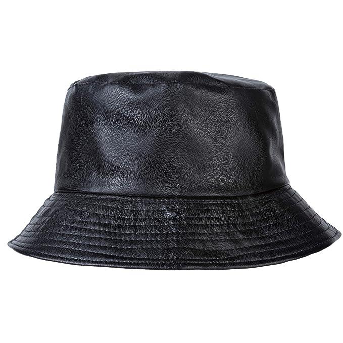 9f92b57d16c06 ZLYC Unisex Fashion Bucket Hat PU Leather Rain Hat Waterproof (Black ...