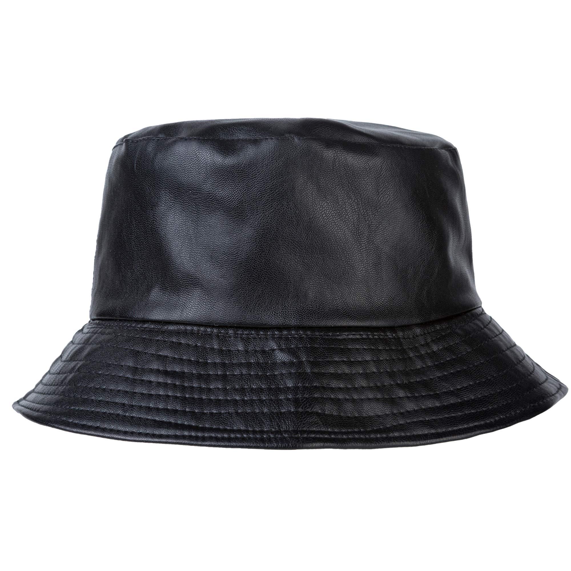 ZLYC Unisex Fashion Bucket Hat PU Leather Rain Hat Waterproof (Black)