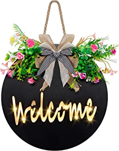 Cllayees Lighted Welcome Sign Wooden Hanging for Front Door, Spring Hello Wreaths for Porch, Christmas Restaurant Home Outdoor Decorations (Black)