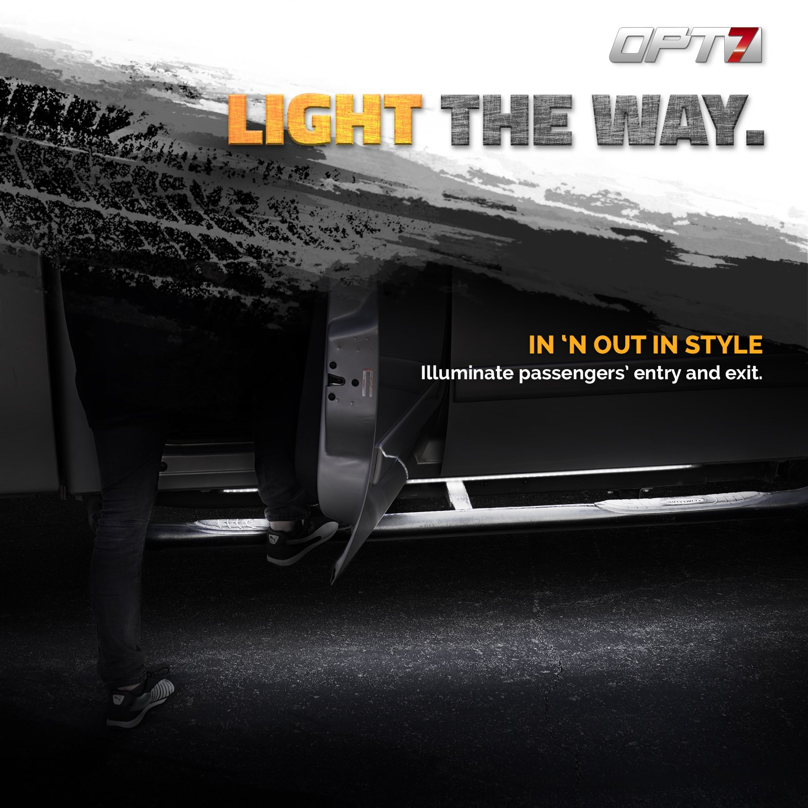 OPT7 2pc 60'' Side Kick Running Board LED Strips w/Amber Turn Signal, DRL, and White Courtesy Lights by OPT7 (Image #4)