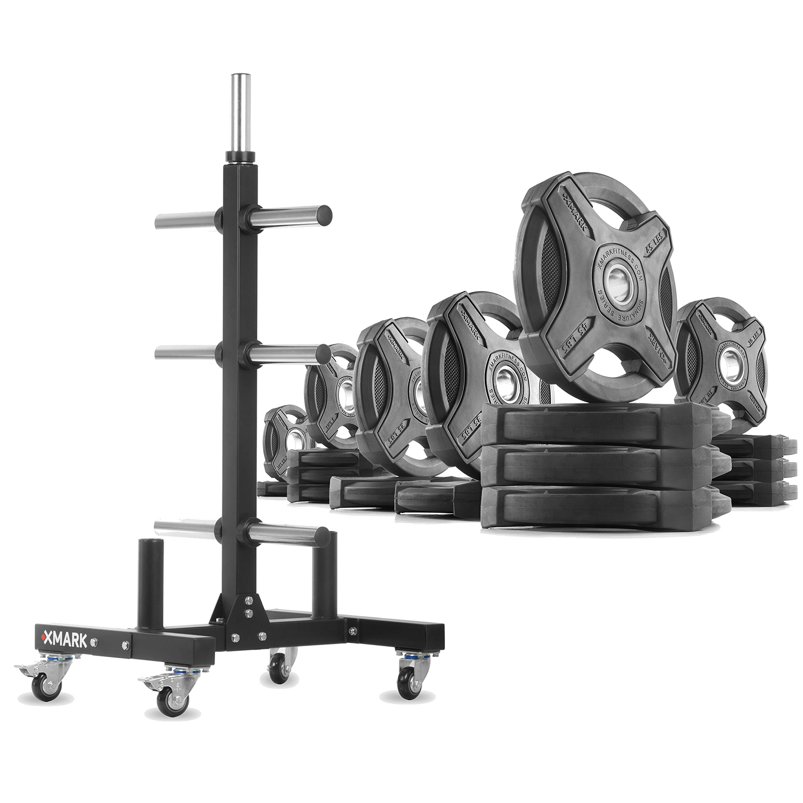XMark XM-9055 Commerical Olympic Weight Tree Plus a 365 lb Set of Signature Olympic Plates by XMark