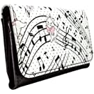 Aristocats Marie on Musical Notes White Coin & Card Tri-Fold Purse