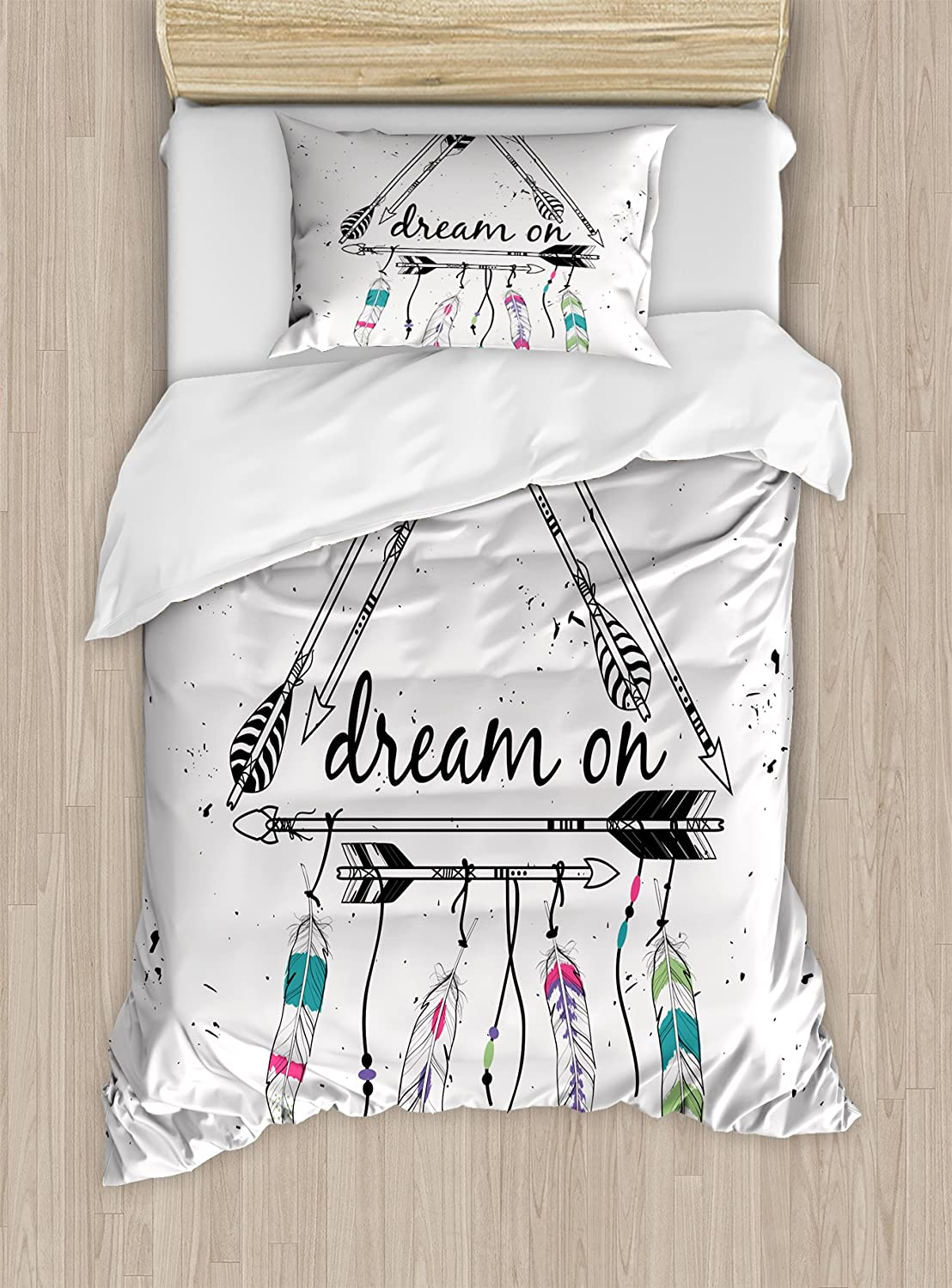 Ambesonne Indie Duvet Cover Set, Boho Style Arrows Triangle Shape Dream Hand Writing Feathers, Decorative 2 Piece Bedding Set with 1 Pillow Sham, Twin Size, Teal Black