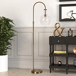 Henn&Hart Arc Brass Floor Lamp with Clear Glass Shade for Living Room / Office / Bedside, Gold