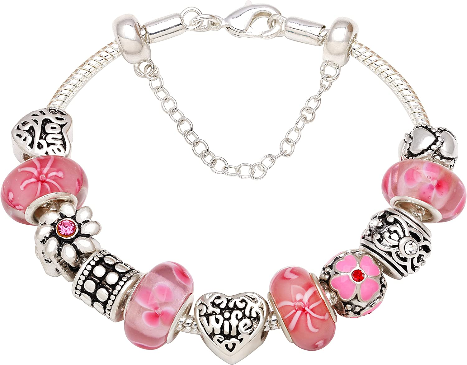 """I Love My Wife Forever"" Pink Flower Bead Charm Bracelet For Christmas Birthday Mother's Day Gift"