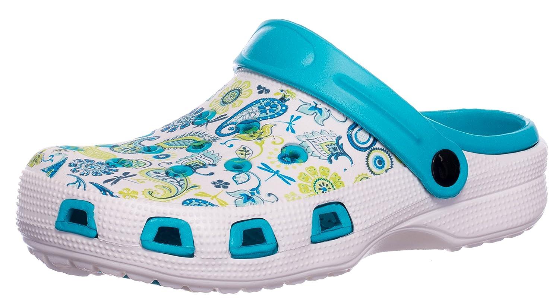 Brandsseller Ladies Garden Clogs Shoe Slipper Beachclogs Floral Design