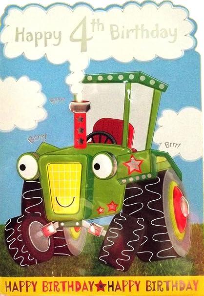 Carte D Anniversaire Pour Petit Garcon Happy 4th Birthday Joyeux 4eme Anniversaire Avec Un Tracteur Argente Et En Relief Bleu Vert Amazon Fr Fournitures De Bureau