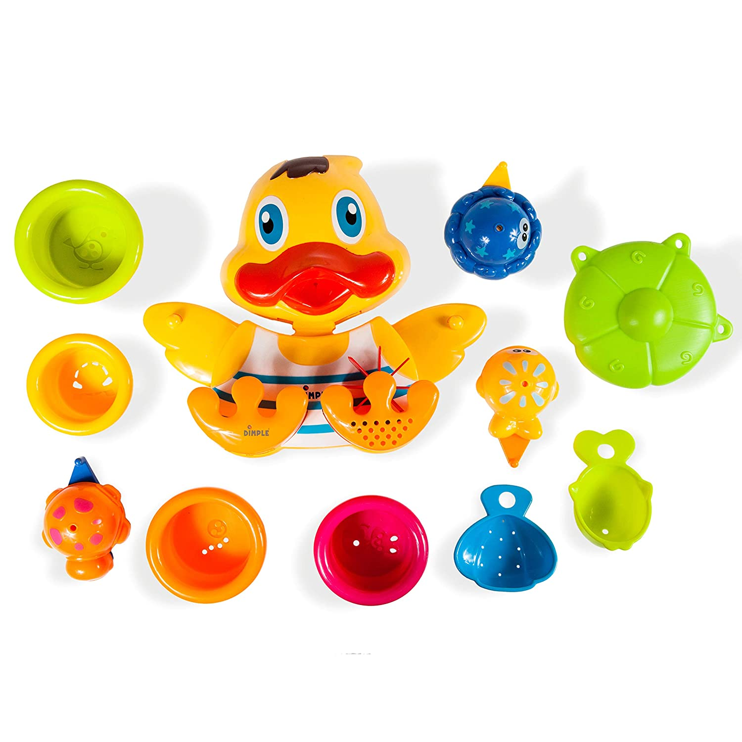 Rubber Duck Wall Mounted Bath Toy with Scoop Cups and Interconnecting Floatable Sea Animal Toys DimpleChild DC11555