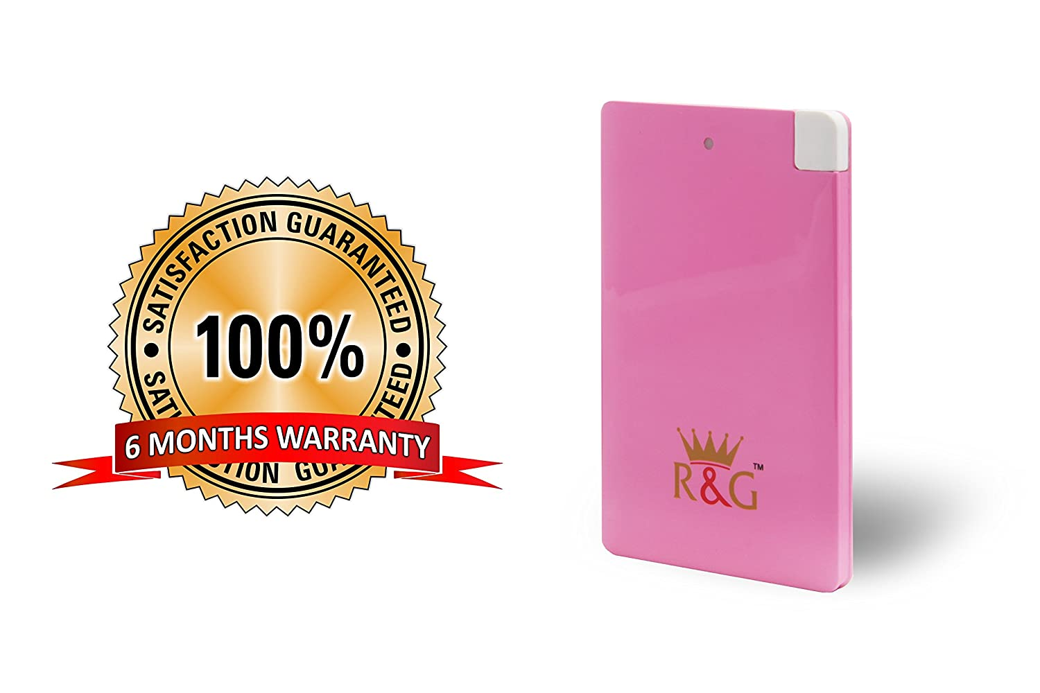 R&G 2500 mAh - World's Slimmest Automatic Power Bank - Pink - With Built-in Micro USB Cable (Weighs Just 55 Grams !! )