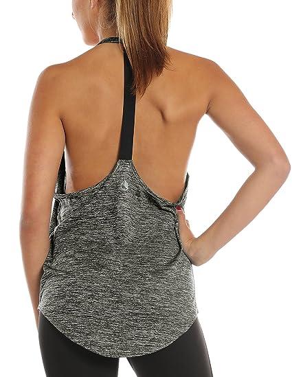 icyzone Damen Zumba Shirt Sport Top Lang - Rückenfrei Workout Gym Tanktop Yoga Oberteile