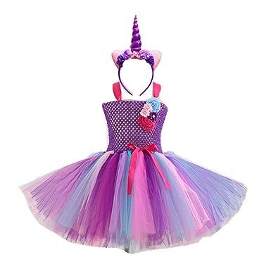 Elegant Colorful Flowers Girls Birthday Party Dresses Children Kids Pony  Unicorn Tutu Costume Summer Girl ( 09fe58441123