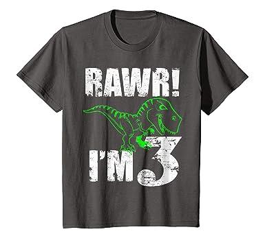 Kids 3rd Dinosaur Birthday T Shirt For 3 Year Old Boys 4 Asphalt