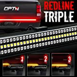 """60"""" Redline TRIPLE LED Tailgate Light Bar w/ Sequential Amber Turn Signal - 1,200 LED's Brighter Solid Beam - No Drill Install - Weatherproof 2yr-Warranty - Full Function Reverse Brake Running Back Up"""