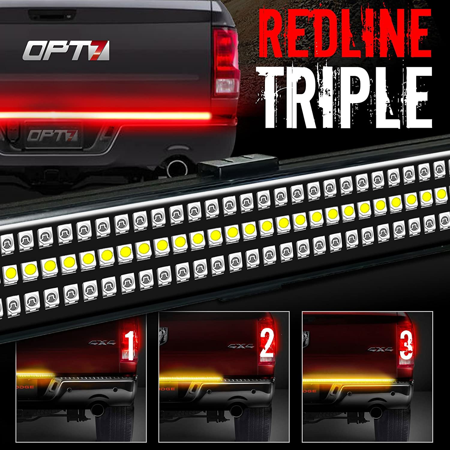 Opt7 60 Redline Triple Led Tailgate Light Bar W 1999 Mustang Tail Wiring Diagram Sequential Amber Turn Signal 1200 Solid Beam Weatherproof No Drill Install Full