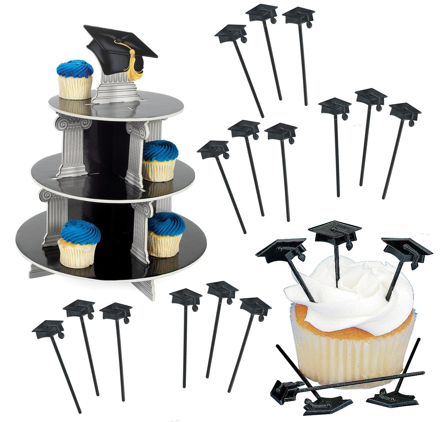 Graduation Cupcake Toppers and Stand, 72 Cupcake Picks, 1 Cupcake Holder