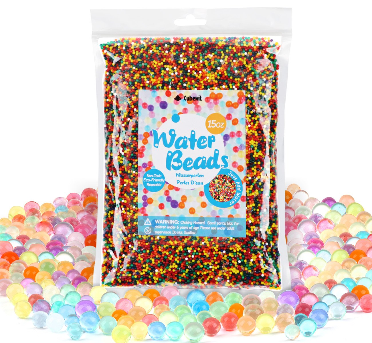 400g Water Beads Gel Beads (50,000pcs) Crystal Water Gel Jelly Crystal Beads Mixed Colors Rainbow Cubewit Water Beads for Orbeez Spa, Toys, Wedding Decoration Aqua perlen Vases etc