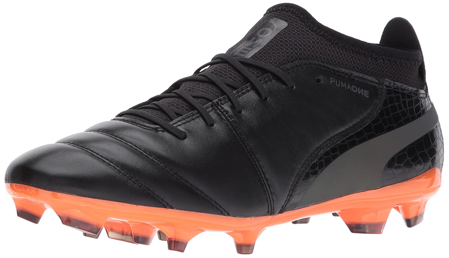 PUMA Men's One Lux 2 FG Soccer Schuhe, schwarz schwarz-Shocking Orange, 10 M US