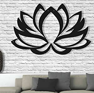 """Metal Wall Art - Lotus Flower - 3D Wall Silhouette Metal Wall Decor Home Office Decoration Bedroom Living Room Decor Sculpture (24""""W x 16""""H/61x41cm)"""