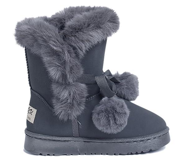 Doublée Hiver Courte Ageemi Pom Fourrure Femmes Bottes Shoes zpO18q