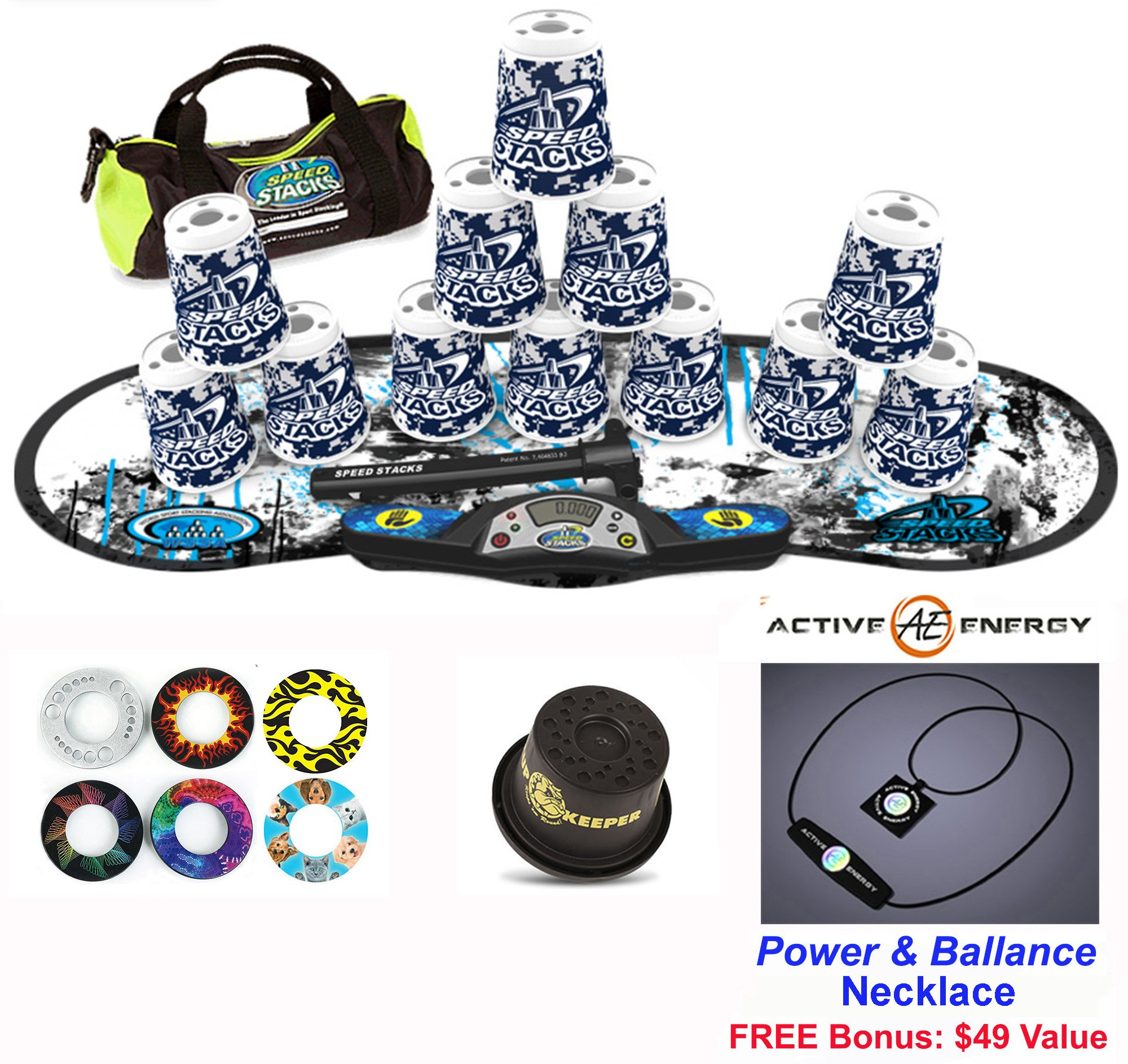 Speed Stacks Combo Set ''The Works'': 12 DIGITAL CAMO 4'' Cups, REBEL MUDD Gen 3 Mat, G4 Pro Timer, Cup Keeper, Stem, Gear Bag, 6 Snap Tops + Active Energy Necklace by Speed Stacks