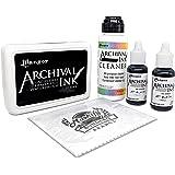 Ranger Jet Black Archival Ink Set - Includes Ink Pad - Two .5fl oz Re-Inkers - Archival Ink Cleaner - Ink is Acid Free - Perm