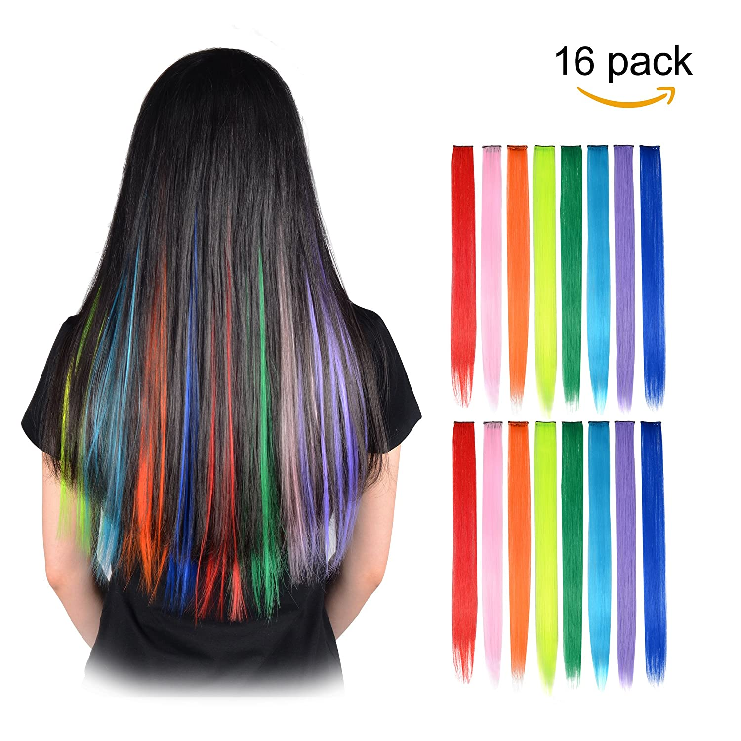FESHFEN 16 Pcs 8 Colors Straight Clip In Hair Extensions Pieces For Kids Grils 20