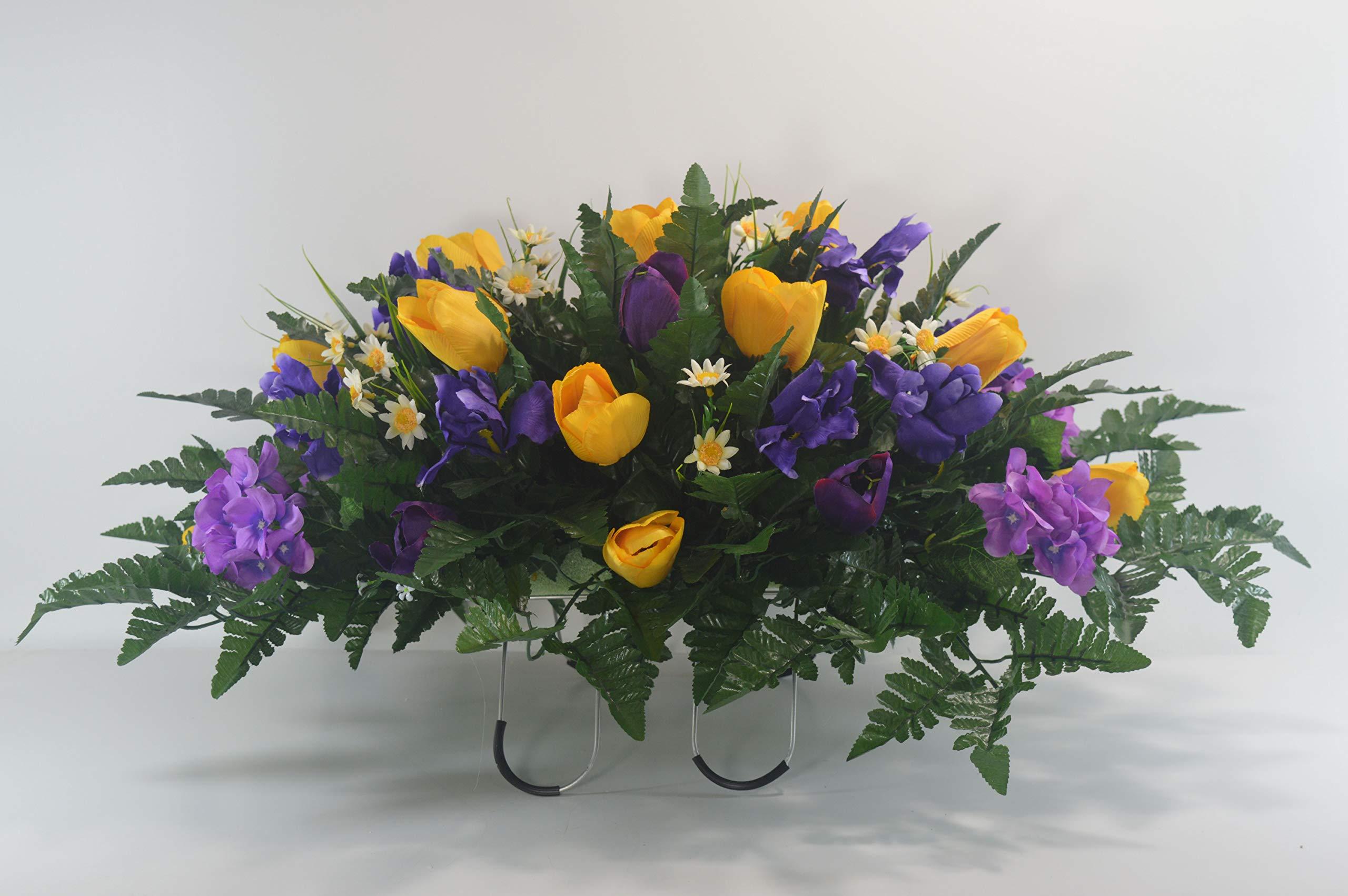 R52-Spring-Cemetery-Flower-Arrangement-Easter-Saddle-Headstone-Saddle-Grave-Tombstone-Arrangement-Cemetery-Flowers