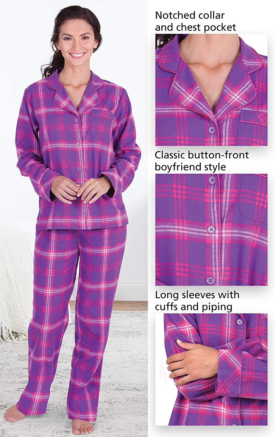 582d932505676 PajamaGram Womens Pajama Sets Flannel - Cozy Ladies Pajamas at Amazon  Women's Clothing store: