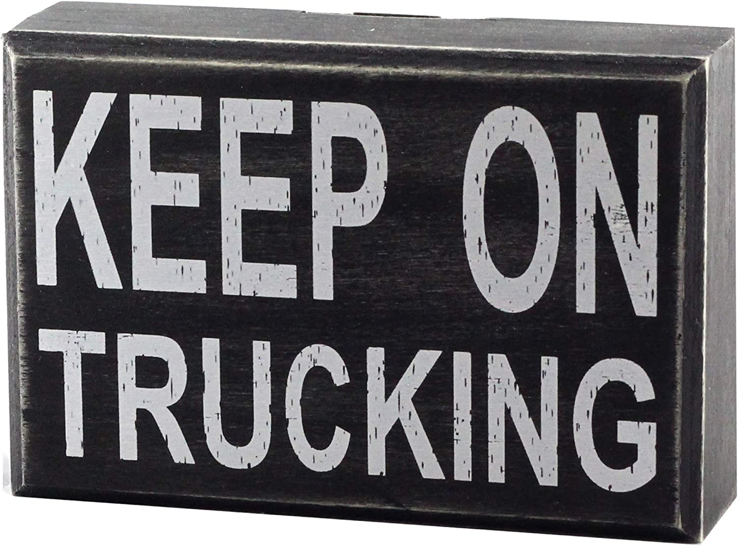 """Keep On Trucking 6""""x4"""" Motivational Wall Art Decor Box Sign with Quotes for Truck Office Desk Home Kitchen Bedside Table or Shelf by Break The Chain"""