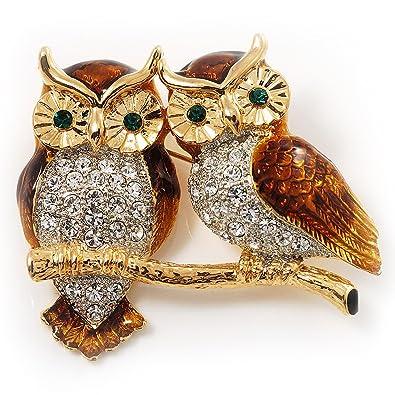 4848fb43ec0 Avalaya Two Gold Crystal Sitting Owls Brooch - 35mm: Amazon.co.uk: Jewellery
