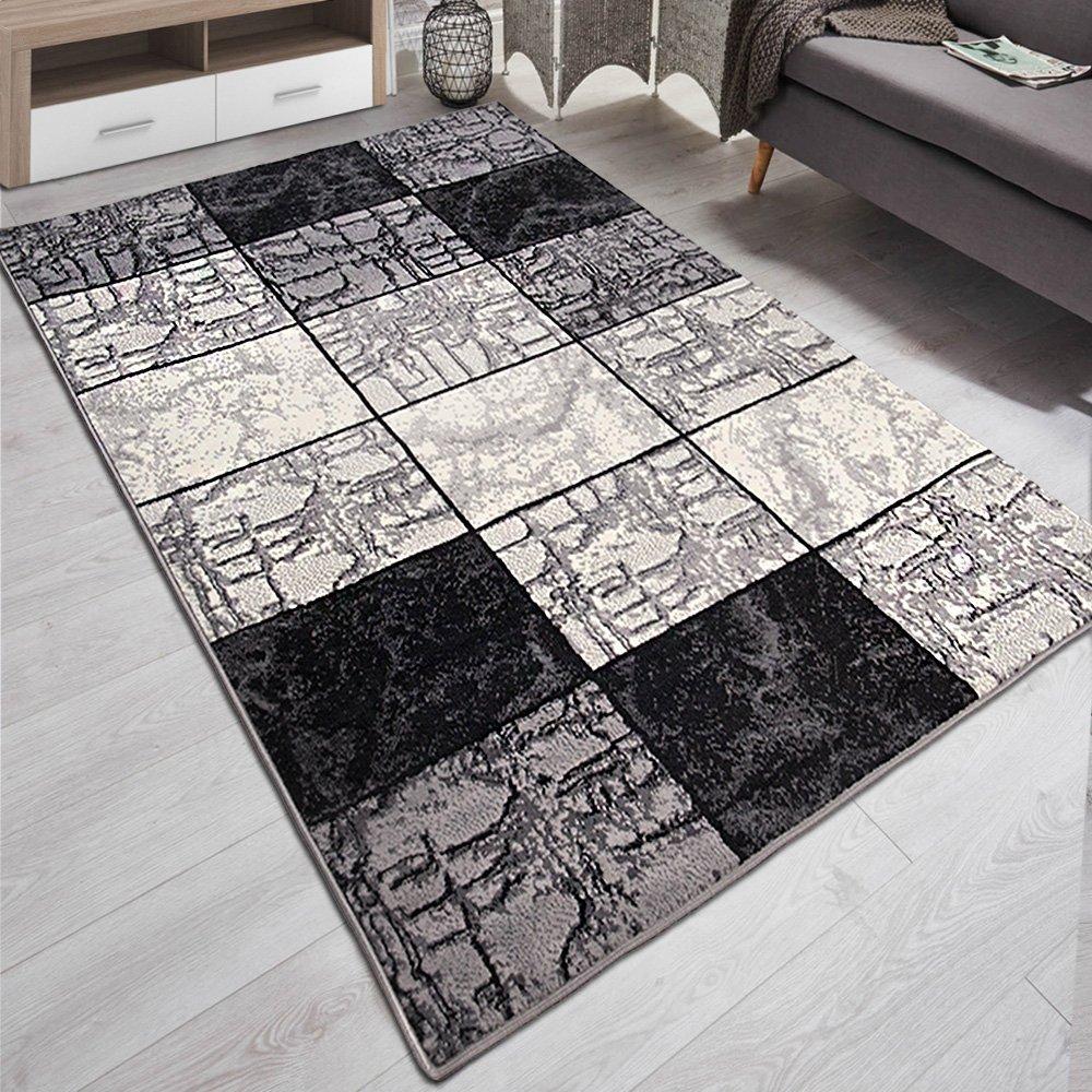 Designer Teppich Kariert Marmor Modern Muster Meliert in Grau Schwarz Weiß - ÖKO Tex (200 x 300 cm)