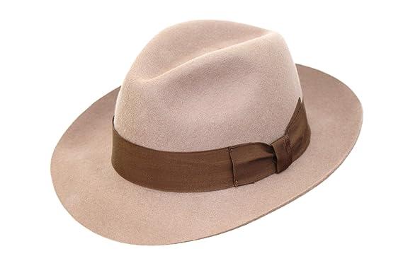 Alta calidad hecho a mano para hombre Fedora sombrero de fieltro con amplia  visera 100  c88f8a125fc