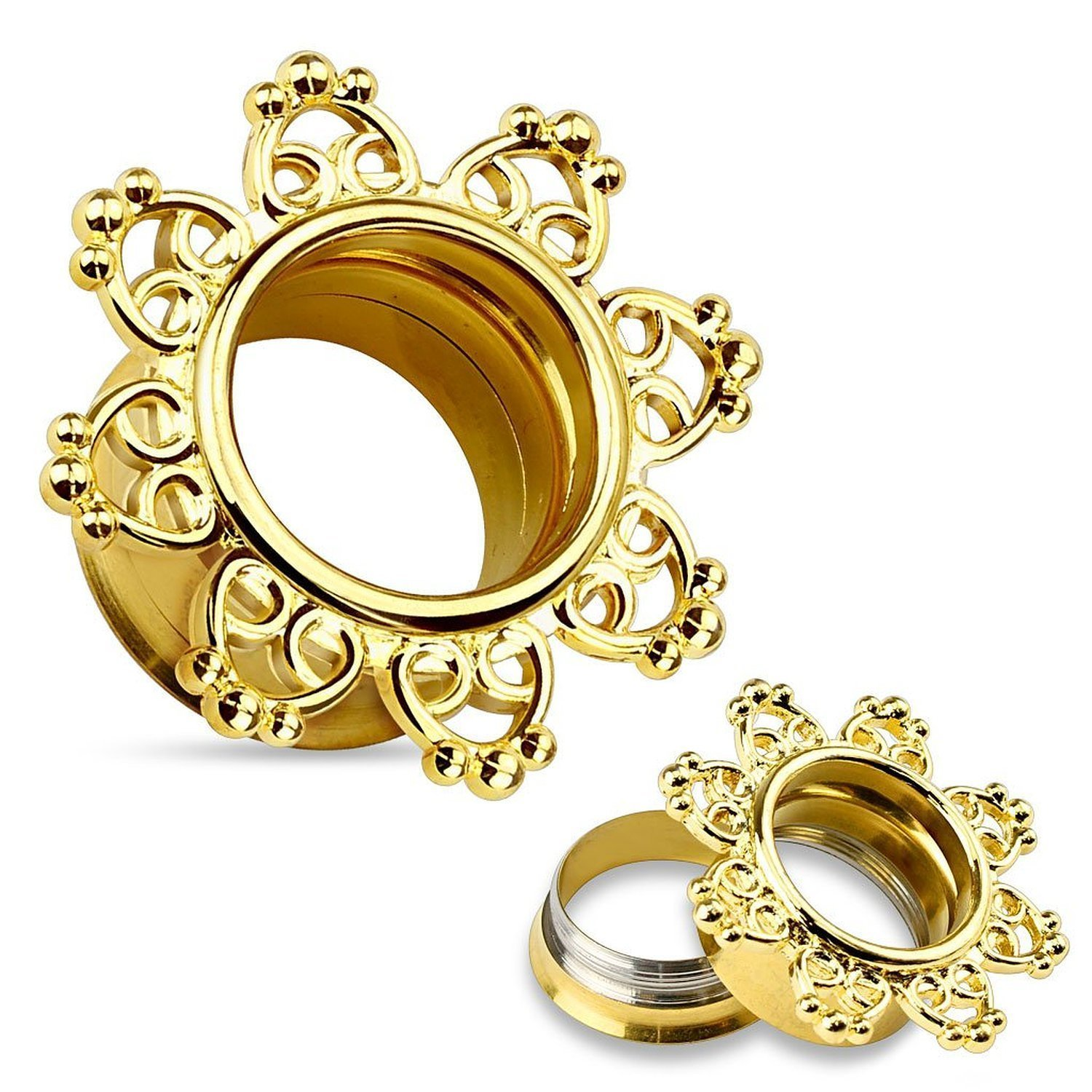 14Kt Gold Plated Tribal Hearts Filigree 316L Surgical Steel Internally Threaded Double Flared Tunnels - Sold as Pairs (1/2'')