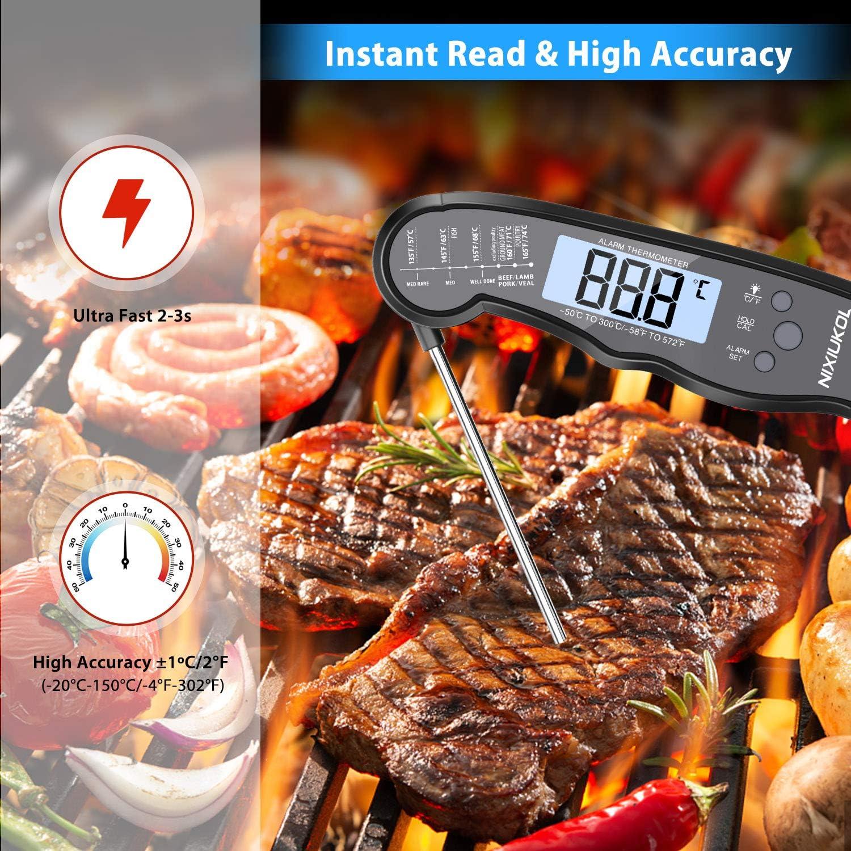 NIXIUKOL Thermom/ètres Cuisine Digital Thermometre Cuisson /à Lecture instantan/é avec 2 sondes Alarme de Temperature /Écran LCD R/étro /Éclairage Aimant Barbecue Thermom/ètre pour Viande BBQ Four Steak Vin