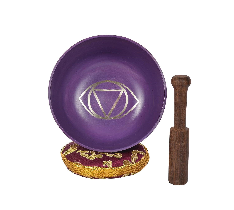 Ciotola da meditazione tibetana Vishuddha Chakra per preghiere di guarigione, yoga con maglio e cuscino (MH-SING-1071-Z) Bermoni